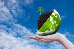 Eco world on hand sky background Royalty Free Stock Photos