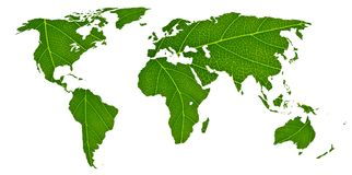 Eco world map made of green leaves, concept ecology.  Royalty Free Stock Images