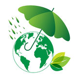 Eco world and umbrella. With green rain - vector royalty free illustration