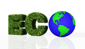 Eco-Wort mit der Welt vektor abbildung
