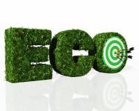 Eco-Wort verfasst durch Gras mit einer Dartscheibe und Pfeilen vektor abbildung