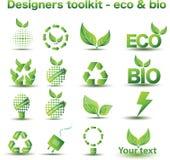 Eco y bio iconos Foto de archivo libre de regalías