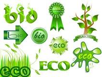 Eco y bio iconos y conjunto de escrituras de la etiqueta 2 Foto de archivo libre de regalías