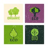 Eco y el vector orgánico de las etiquetas diseñan con los elementos del grunge stock de ilustración
