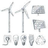 Eco y fuentes de energ?a renovable alternativos Ejemplos exhaustos del bosquejo de la mano del vector S?mbolo del generador de vi ilustración del vector
