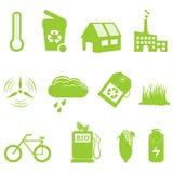 Eco y reciclaje del conjunto del icono Fotografía de archivo libre de regalías