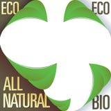 Eco y todas las etiquetas autoadhesivas de la esquina naturales Imagen de archivo libre de regalías