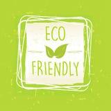 Eco życzliwy z liściem podpisuje wewnątrz ramę nad zielonym starym papierowym backgr Zdjęcia Royalty Free