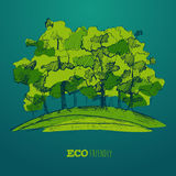 Eco Życzliwy, Zielony Energetyczny pojęcie, Płaski wektor Obraz Royalty Free
