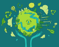 Eco Życzliwy, Zielony Energetyczny pojęcie, Płaski wektor Zdjęcie Royalty Free