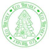 Eco życzliwy znaczek z drzewem Zdjęcia Royalty Free