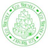 Eco życzliwy znaczek z drzewem Obrazy Royalty Free