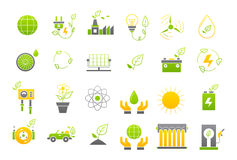 Eco yellow-green vector icons set. Set of 24 Eco yellow-green vector icons Stock Photos