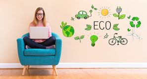 Eco with young woman using her laptop Stock Images