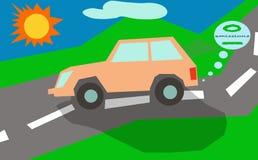 Eco zero del sole delle emissioni dell'automobile Fotografie Stock Libere da Diritti