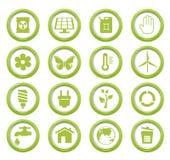 Eco zieleni guziki ustawiający Zdjęcia Royalty Free