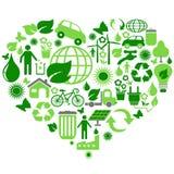 Eco zieleni symbole w kierowym kształcie royalty ilustracja