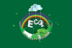 Eco zielenieje miasto projekt, Półksiężyc księżyc, 3d, isometric, tęcza, papierowa sztuka Zdjęcia Royalty Free