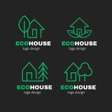Eco Zielonego domu nowożytnego kreskowego loga projekta wektorowy set Zdjęcie Royalty Free