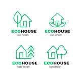 Eco Zielonego domu nowożytnego kreskowego loga projekta wektorowy set Zdjęcia Stock