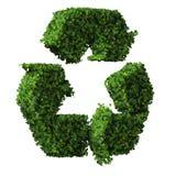 Eco znak robić od zieleń liści odizolowywających na białym tle 3 d czynią Fotografia Royalty Free