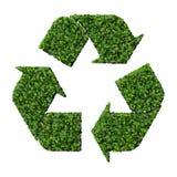 Eco znak robić od zieleń liści odizolowywających na białym tle 3 d czynią Zdjęcia Royalty Free