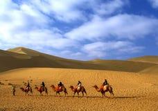Ecoando o monte da areia, Dun Huang, China Fotos de Stock