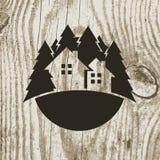 葡萄酒称呼了eco与树的房子徽章在木纹理backg 库存照片
