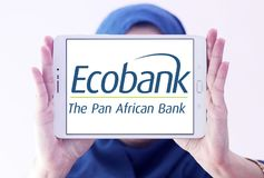Ecobank Transnational logo. Logo of Ecobank on samsung tablet holded by arab muslim woman. Ecobank Transnational ETI, is a pan African banking conglomerate, with Stock Photos