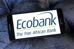 Ecobank Transnational logo. Logo of Ecobank on samsung mobile. Ecobank Transnational ETI, is a pan African banking conglomerate, with banking operations in 36 Stock Photo