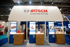Bosch booth. London, UK - 6 March 2013: Bosch stand during Ecobuild 2013 at Excel, the worlds biggest event for sustainable design, construction and the built Royalty Free Stock Photo