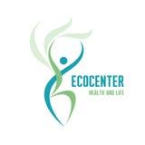 Ecocenter -医疗保健&生活商标标志 免版税库存照片