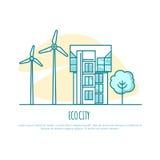 Ecocity, αστικό σπίτι εναλλακτική ενέργεια επίσης corel σύρετε το διάνυσμα απεικόνισης Στοκ Εικόνα
