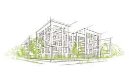 Ecocity architectural sketch. Vector. Layered. For print or web Royalty Free Stock Photos