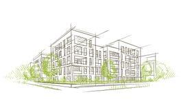 Ecocity architektoniczny nakreślenie wektor płatowaty Zdjęcia Royalty Free