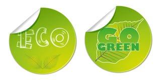 ecoen går gröna bio etiketter som den naturliga vektoraffären shoppar klistermärken Royaltyfri Bild