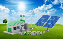 Ecofriendly concept. Green factory, wind turbine and solar panel stock image