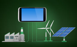 Ecofriendly concept. Green factory, wind turbine and solar panel connected to smartphone stock photos
