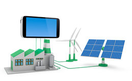 Ecofriendly concept. Green factory, wind turbine and solar panel connected to smartphone isolated on white background royalty free illustration