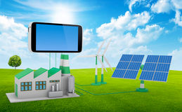 Ecofriendly concept. Green factory, wind turbine and solar panel connected to smartphone isolated on white background stock image