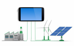 Ecofriendly concept. Green factory, wind turbine and solar panel connected to smartphone on white background stock photography