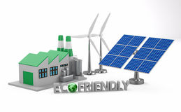 Ecofriendly concept. Green factory, wind turbine and solar panel on white background royalty free stock images