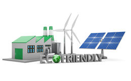 Ecofriendly concept. Green factory, wind turbines and solar panel isolated on white background royalty free illustration