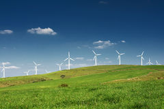 Ecofriendly Energy. Wind turbines farm. Alternative energy source stock image