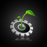 Ecofriendly Industry. Easy to edit vector illustration of plant on gear royalty free illustration