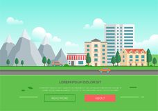 Ecofriendly town by the mountains - modern vector illustration Royalty Free Stock Photo