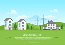 Ecofriendly town with windmills - modern vector illustration Stock Images