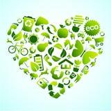 ecohjärtasymbol stock illustrationer
