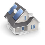 Ecohuis met panelen op wit Stock Foto's