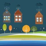 Ecohuizen voor Verkoop/Huur Concept 6 van onroerende goederen stock illustratie